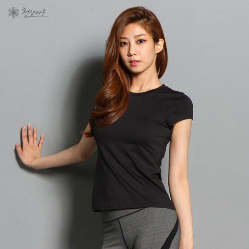 N0676 베이직 슬림 라운드 티셔츠_블랙